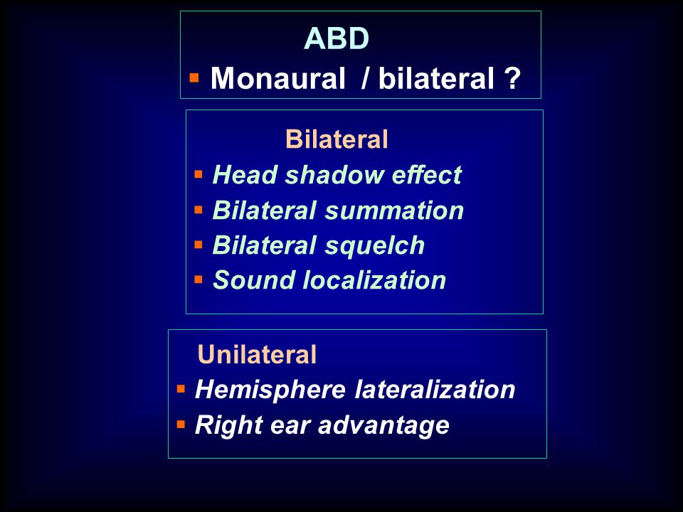 ABD Monaural / bilateral Bilateral Head shadow effect