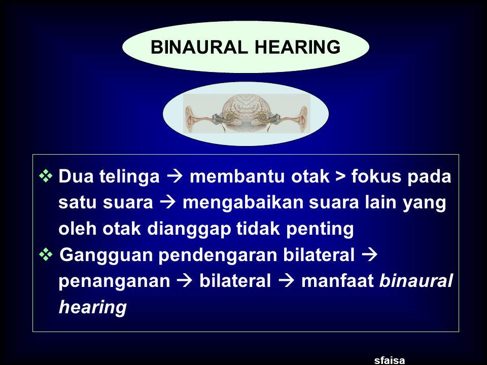 Dua telinga  membantu otak > fokus pada