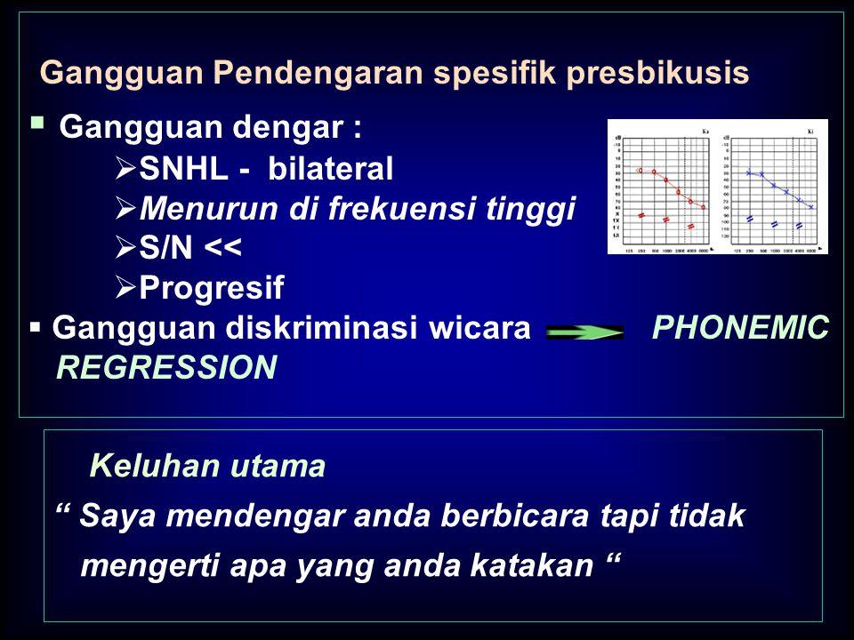 Gangguan Pendengaran spesifik presbikusis Gangguan dengar :