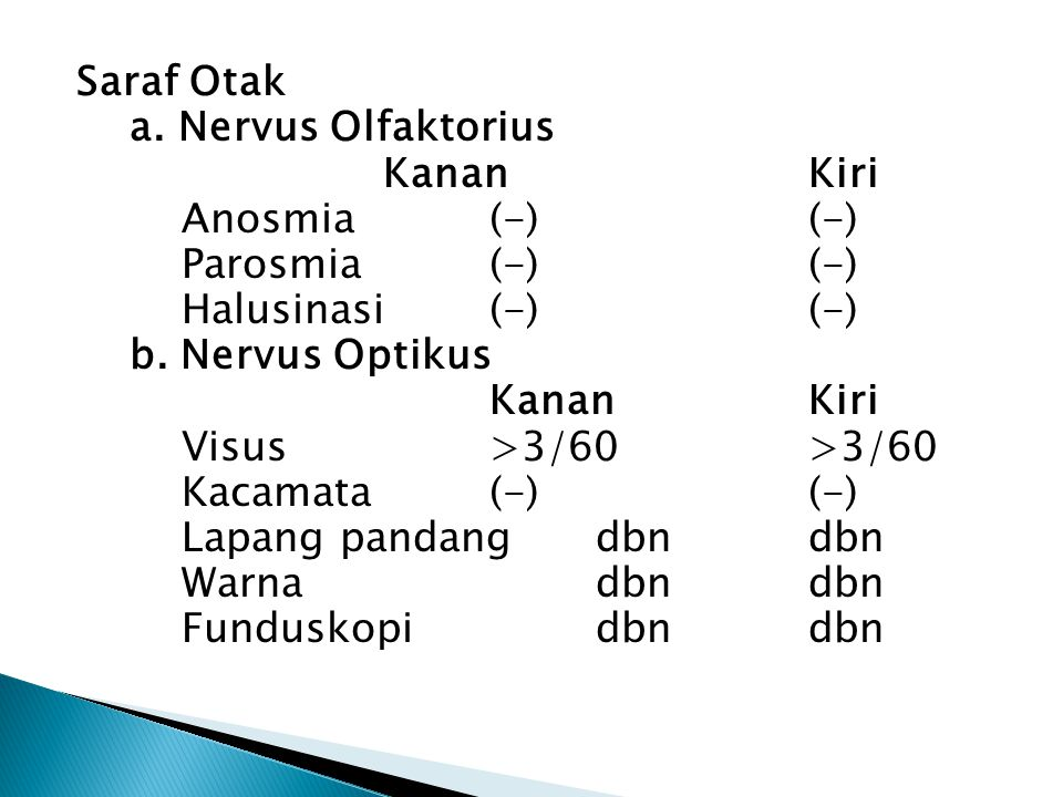 Saraf Otak a. Nervus Olfaktorius Kanan Kiri Anosmia (-) (-) Parosmia (-) (-) Halusinasi (-) (-) b.