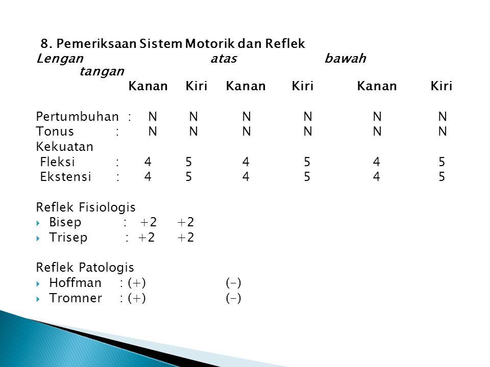 8. Pemeriksaan Sistem Motorik dan Reflek