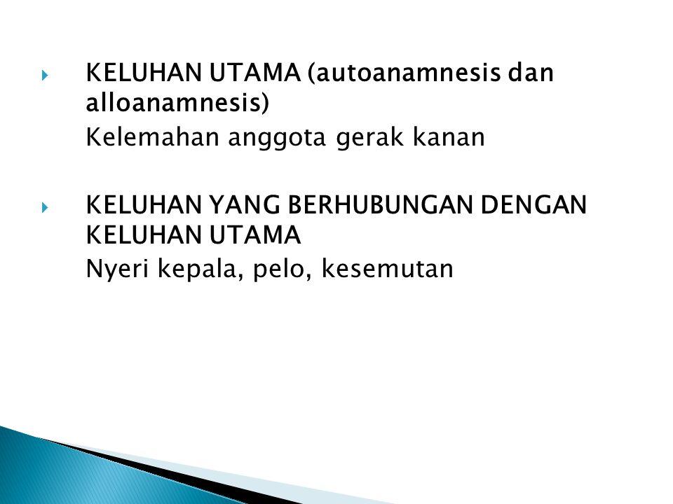 KELUHAN UTAMA (autoanamnesis dan alloanamnesis)