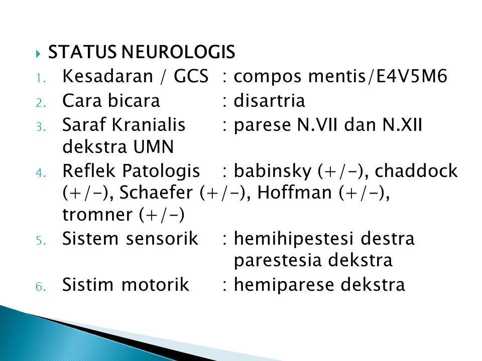 STATUS NEUROLOGIS Kesadaran / GCS : compos mentis/E4V5M6. Cara bicara : disartria. Saraf Kranialis : parese N.VII dan N.XII dekstra UMN.