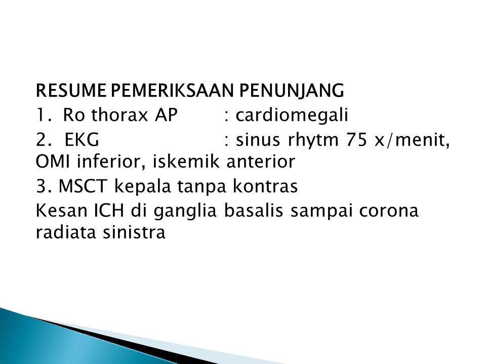 RESUME PEMERIKSAAN PENUNJANG 1. Ro thorax AP : cardiomegali 2