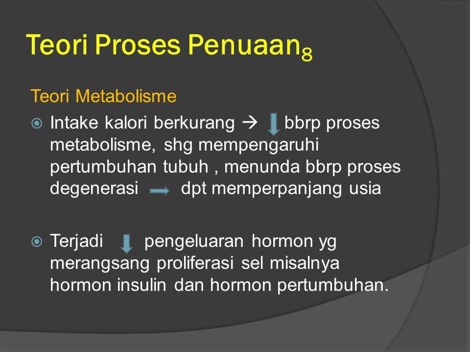 Teori Proses Penuaan8 Teori Metabolisme