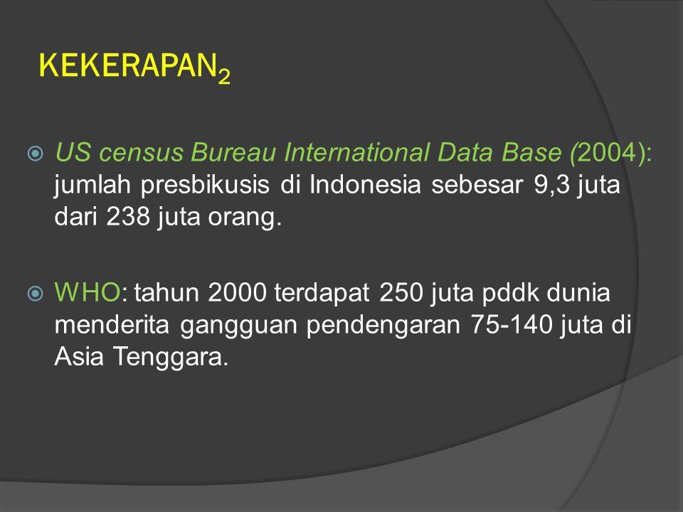KEKERAPAN2 US census Bureau International Data Base (2004): jumlah presbikusis di Indonesia sebesar 9,3 juta dari 238 juta orang.
