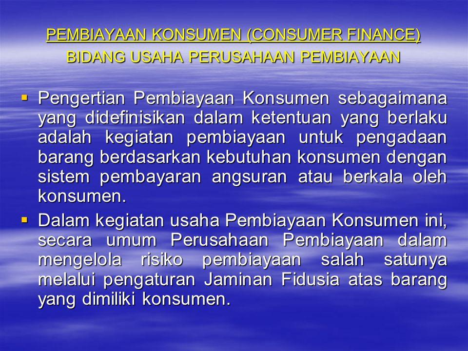 PEMBIAYAAN KONSUMEN (CONSUMER FINANCE) BIDANG USAHA PERUSAHAAN PEMBIAYAAN