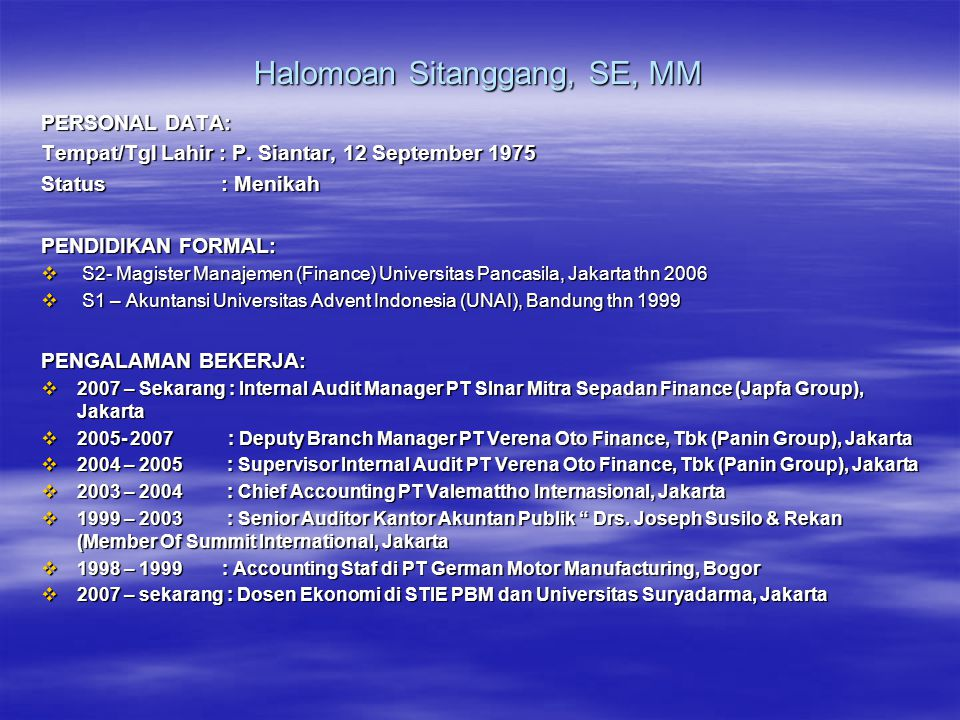 Halomoan Sitanggang, SE, MM