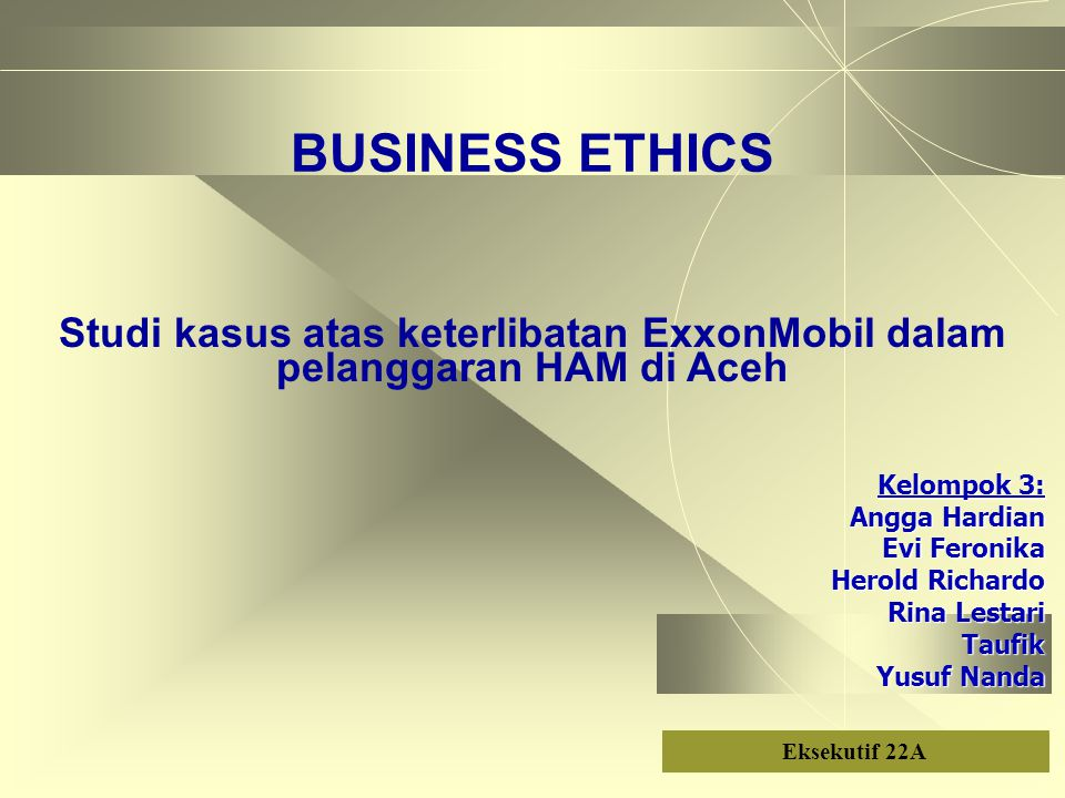 Studi kasus atas keterlibatan ExxonMobil dalam pelanggaran HAM di Aceh