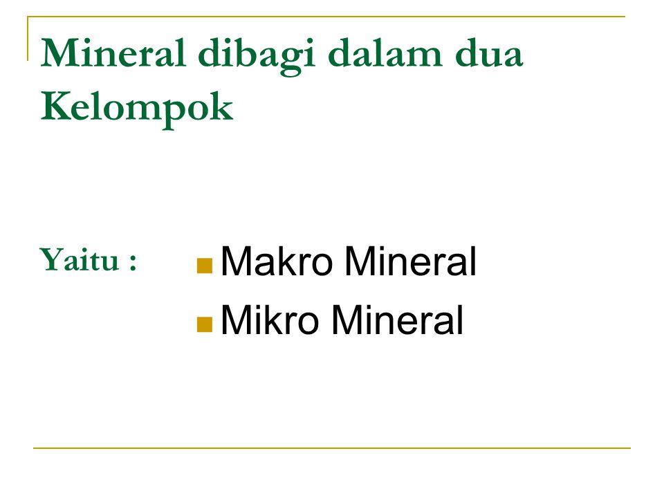 Mineral dibagi dalam dua Kelompok Yaitu :