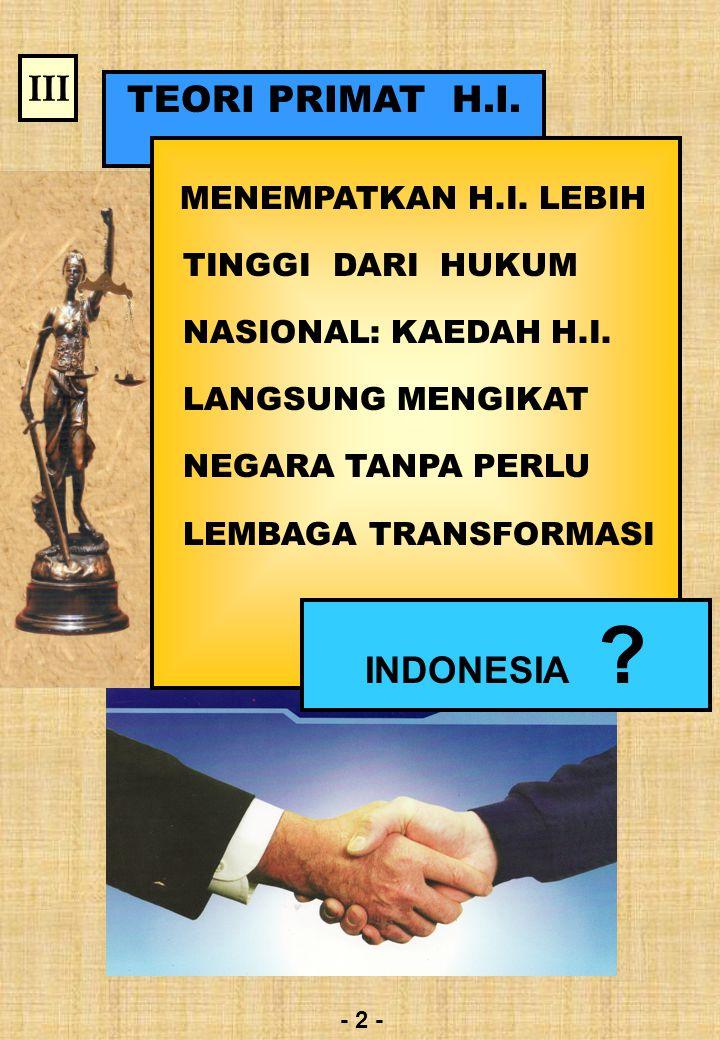 III TEORI PRIMAT H.I. INDONESIA MENEMPATKAN H.I. LEBIH