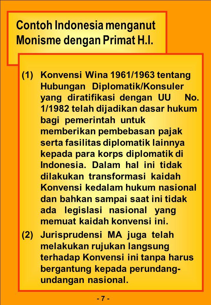 Contoh Indonesia menganut Monisme dengan Primat H.I.