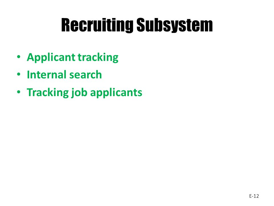 Recruiting Subsystem Applicant tracking Internal search