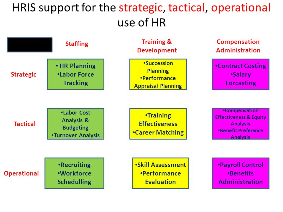 HRIS support for the strategic, tactical, operational use of HR
