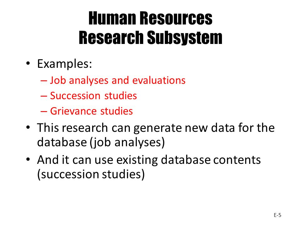 Human Resources Research Subsystem