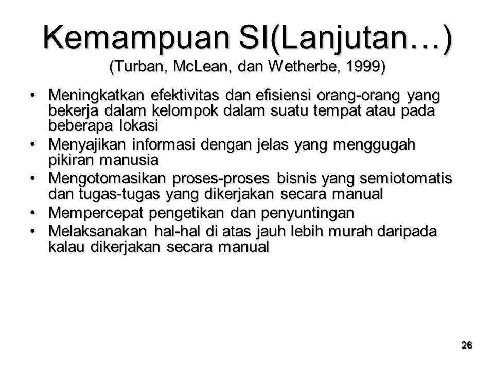 Kemampuan SI(Lanjutan…) (Turban, McLean, dan Wetherbe, 1999)