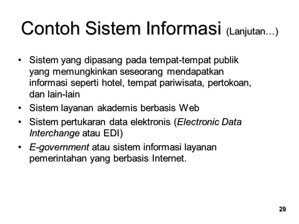 Contoh Sistem Informasi (Lanjutan…)
