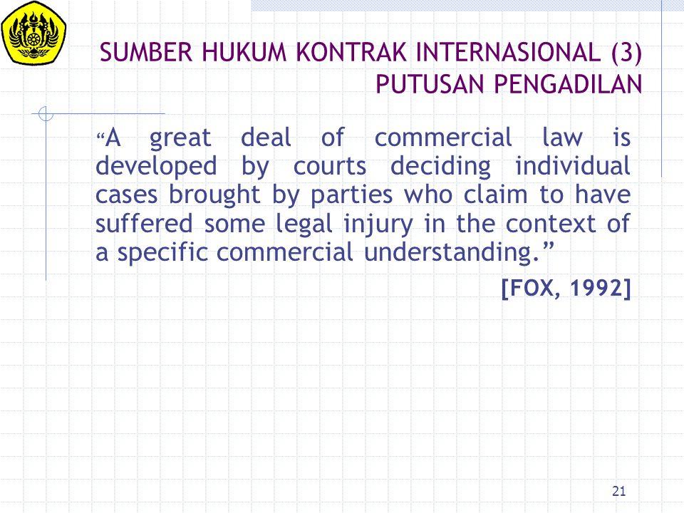 SUMBER HUKUM KONTRAK INTERNASIONAL (3) PUTUSAN PENGADILAN
