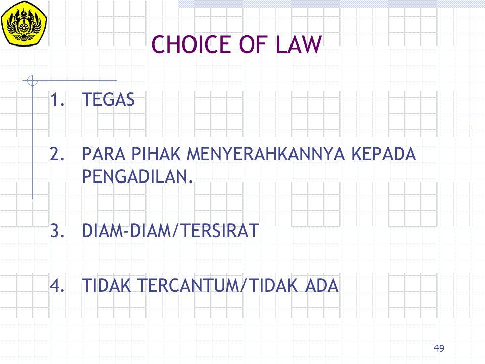 CHOICE OF LAW 1. TEGAS 2. PARA PIHAK MENYERAHKANNYA KEPADA PENGADILAN.