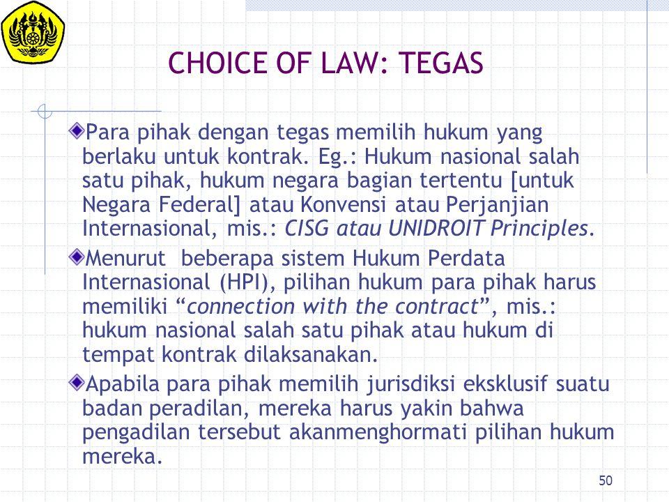 CHOICE OF LAW: TEGAS