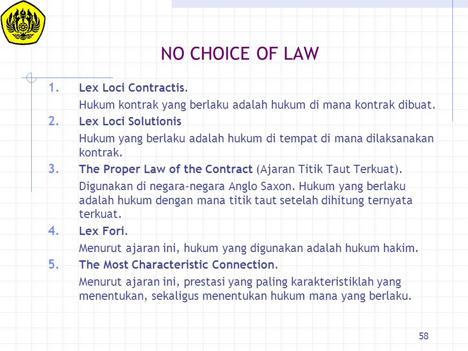 NO CHOICE OF LAW Lex Loci Contractis.