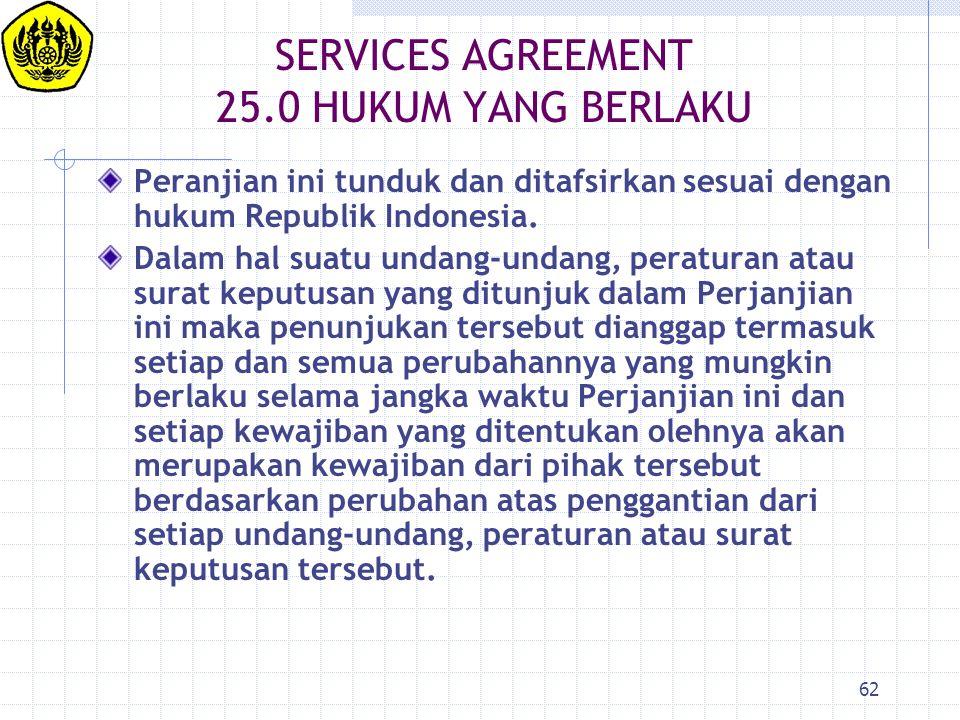 SERVICES AGREEMENT 25.0 HUKUM YANG BERLAKU