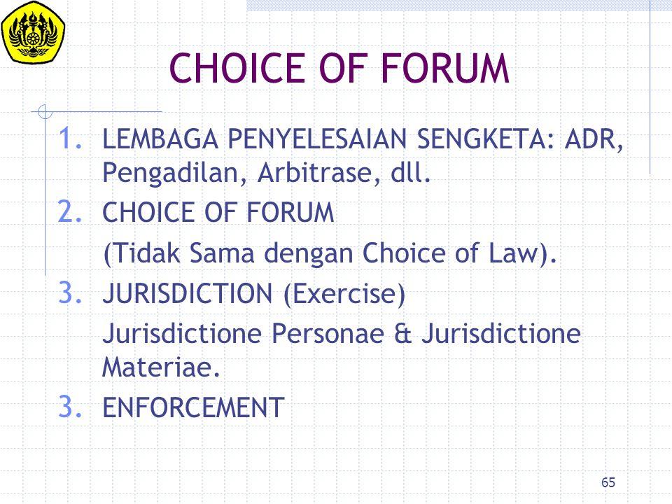 CHOICE OF FORUM LEMBAGA PENYELESAIAN SENGKETA: ADR, Pengadilan, Arbitrase, dll. CHOICE OF FORUM. (Tidak Sama dengan Choice of Law).