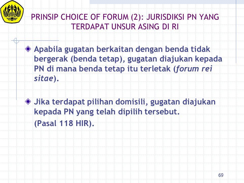 PRINSIP CHOICE OF FORUM (2): JURISDIKSI PN YANG TERDAPAT UNSUR ASING DI RI