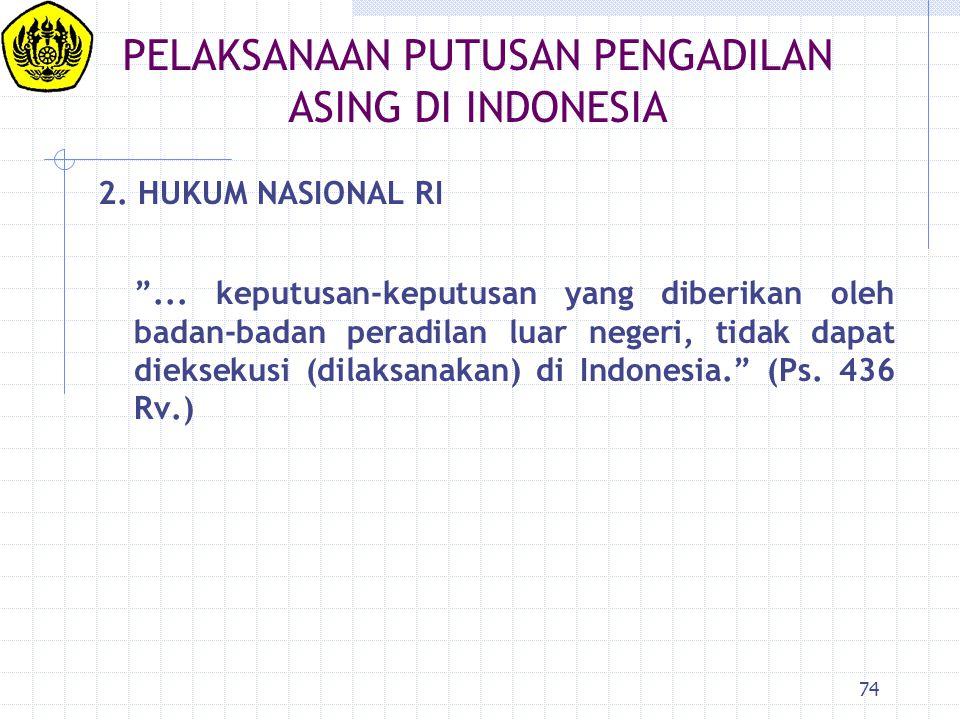 PELAKSANAAN PUTUSAN PENGADILAN ASING DI INDONESIA