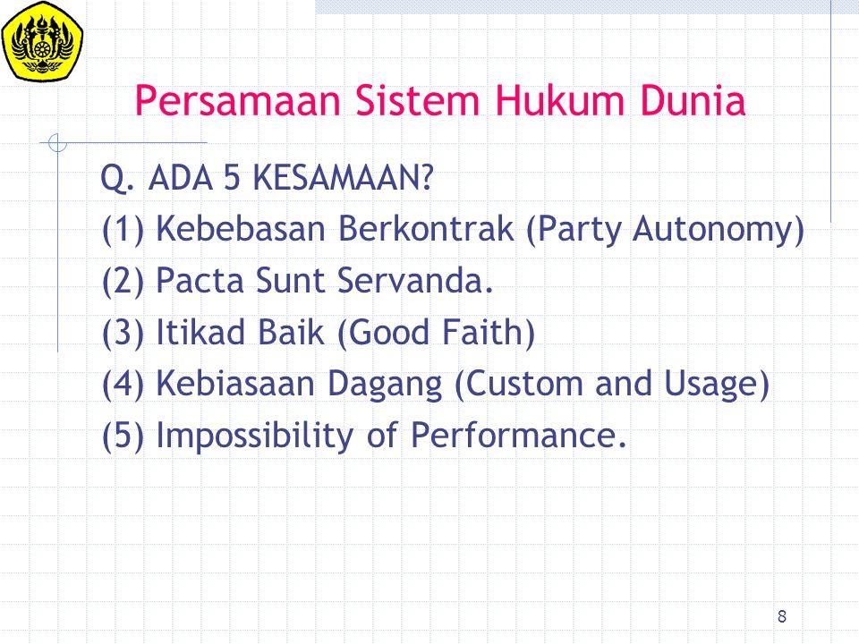 Persamaan Sistem Hukum Dunia
