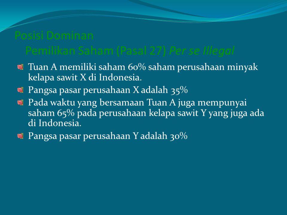 Posisi Dominan Pemilikan Saham (Pasal 27) Per se Illegal