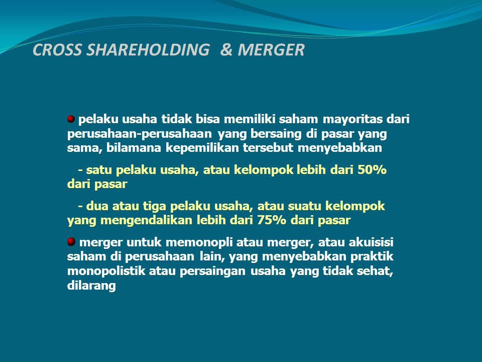 CROSS SHAREHOLDING & MERGER