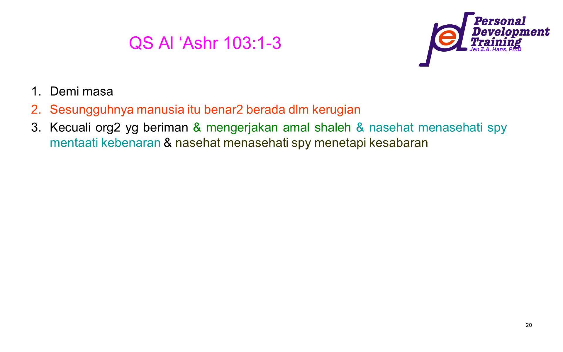 QS Al 'Ashr 103:1-3 Demi masa. Sesungguhnya manusia itu benar2 berada dlm kerugian.