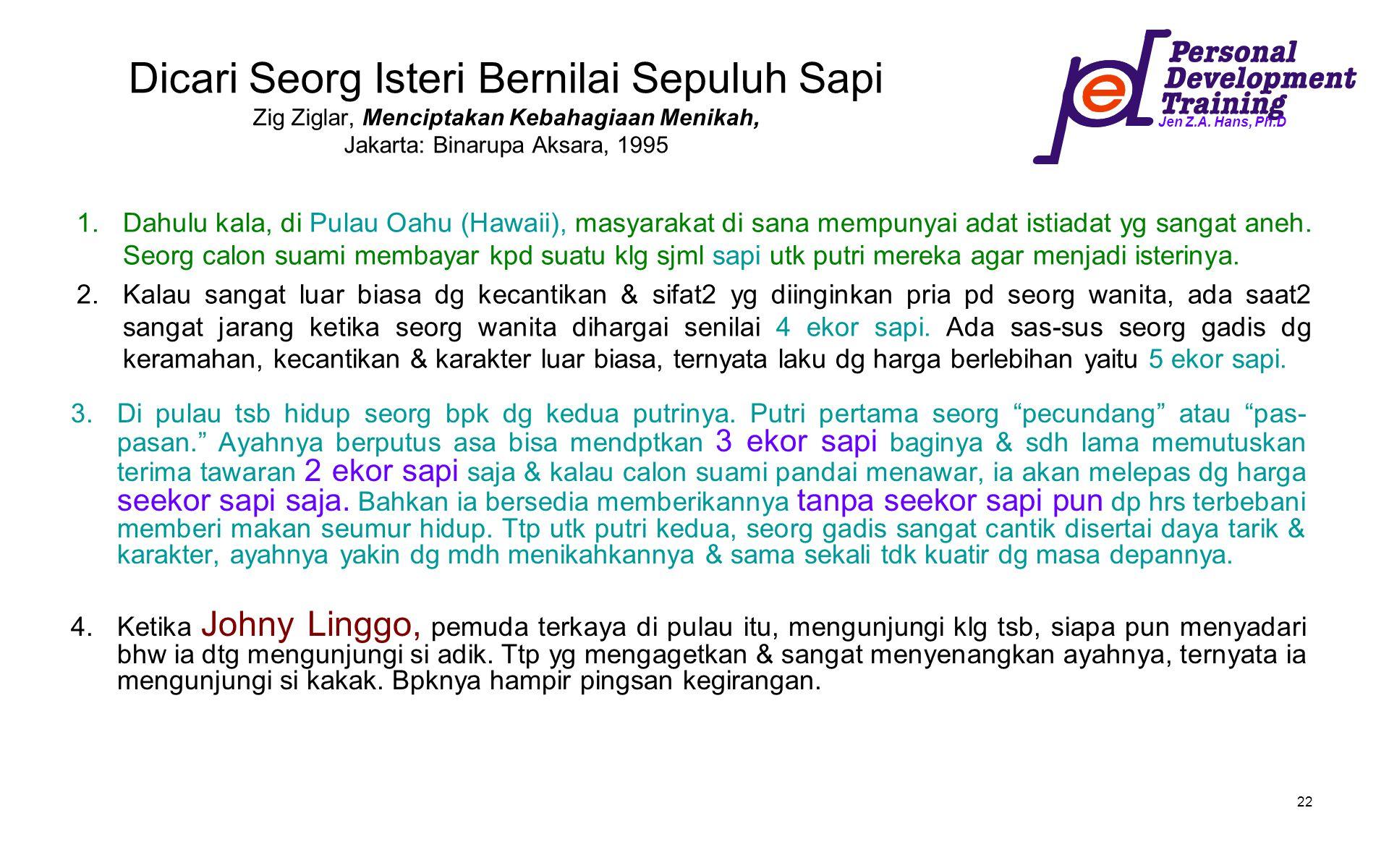 Dicari Seorg Isteri Bernilai Sepuluh Sapi Zig Ziglar, Menciptakan Kebahagiaan Menikah, Jakarta: Binarupa Aksara, 1995