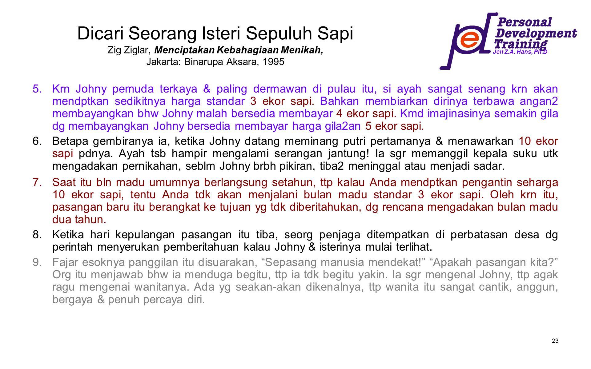 Dicari Seorang Isteri Sepuluh Sapi Zig Ziglar, Menciptakan Kebahagiaan Menikah, Jakarta: Binarupa Aksara, 1995