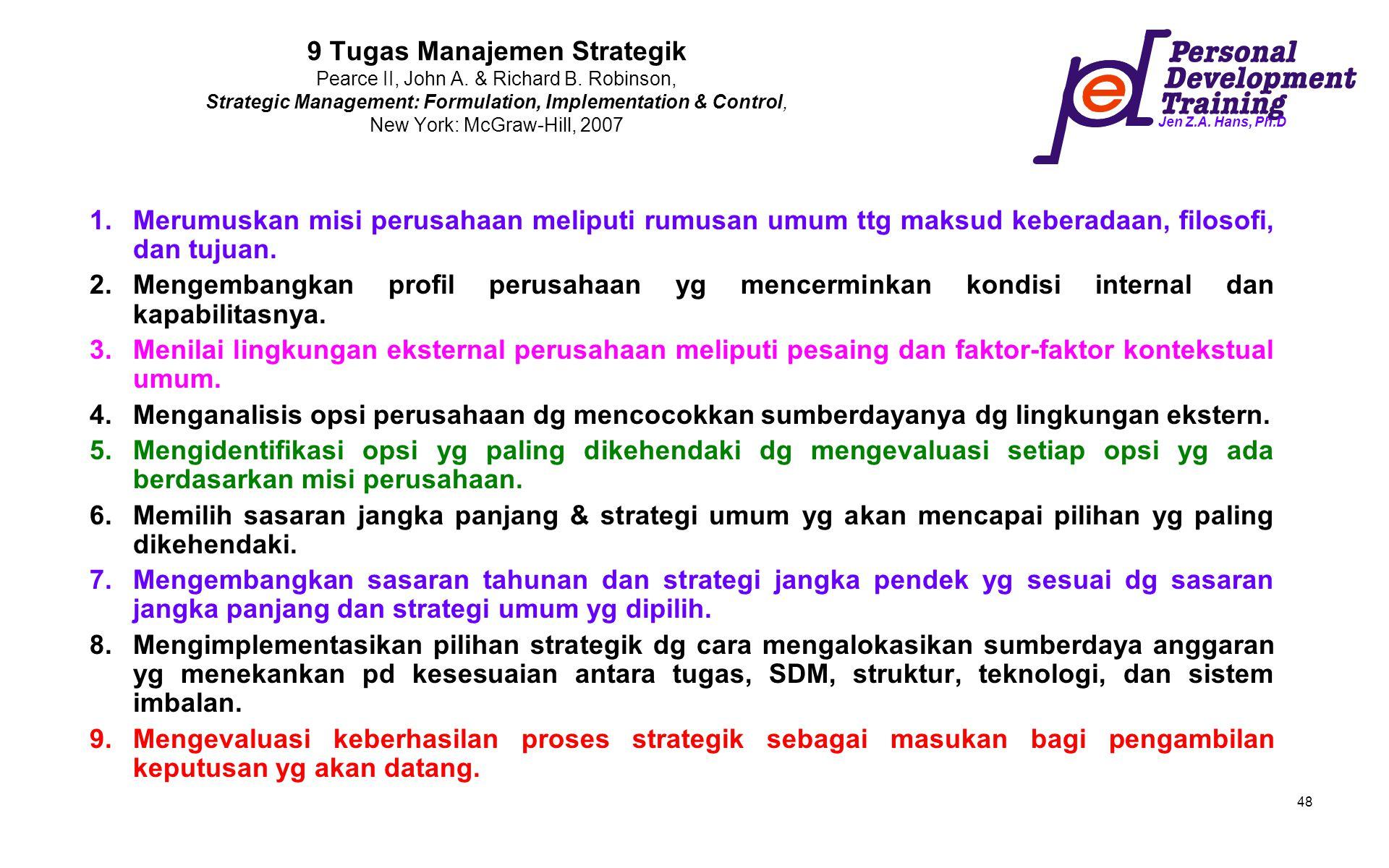 9 Tugas Manajemen Strategik Pearce II, John A. & Richard B