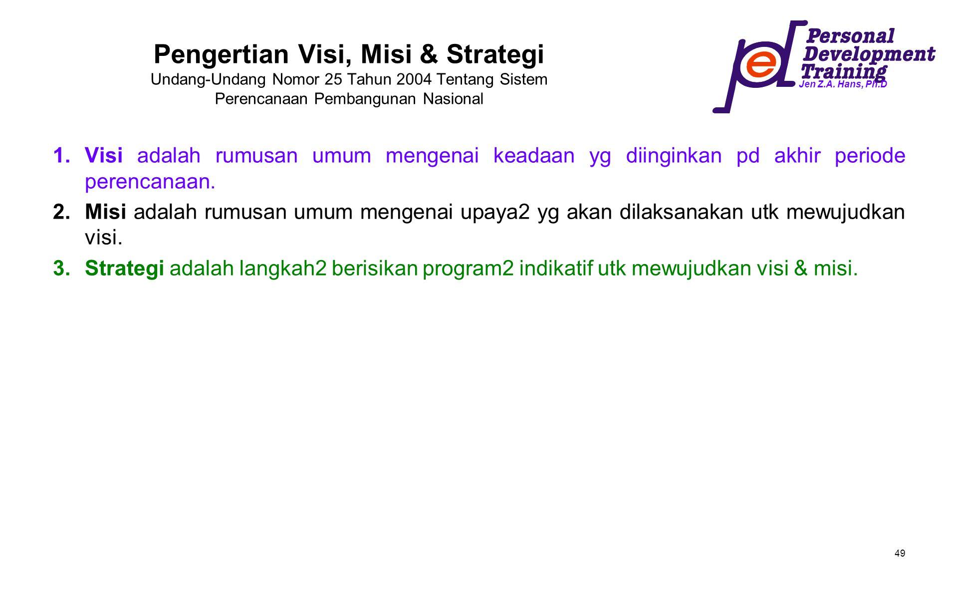Pengertian Visi, Misi & Strategi Undang-Undang Nomor 25 Tahun 2004 Tentang Sistem Perencanaan Pembangunan Nasional