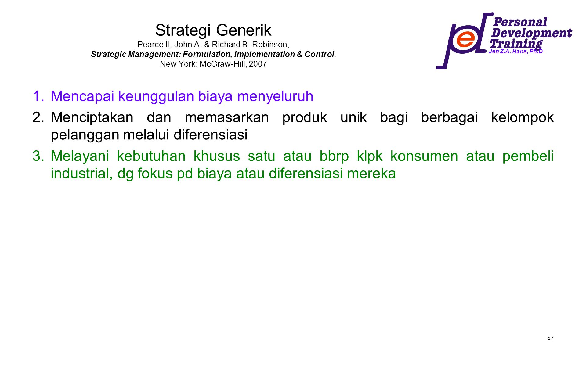 Strategi Generik Pearce II, John A. & Richard B