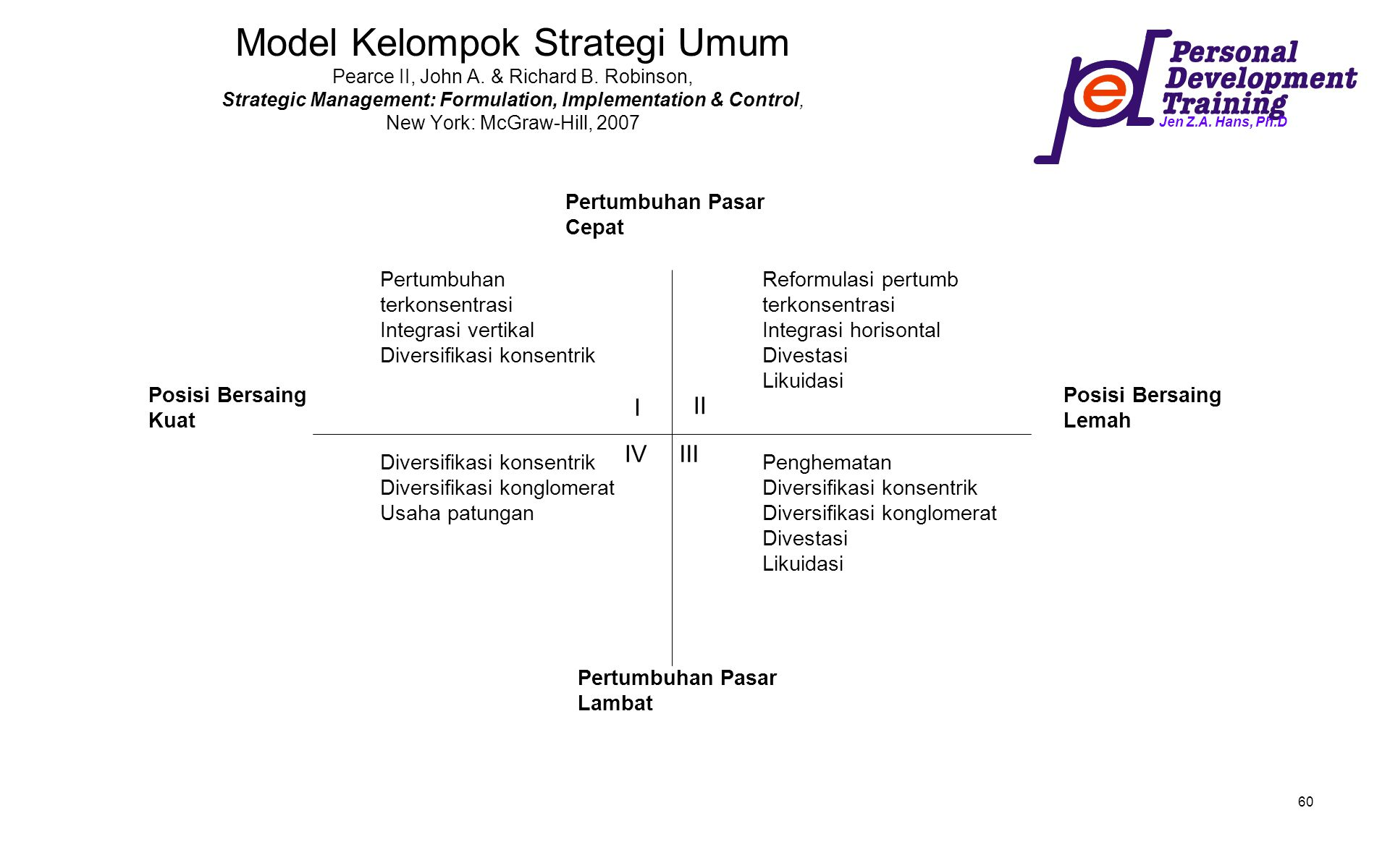 Model Kelompok Strategi Umum Pearce II, John A. & Richard B