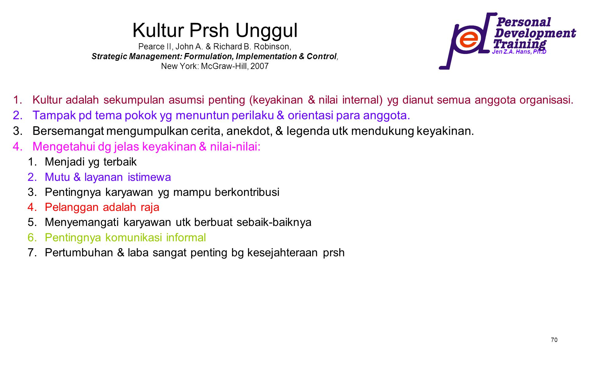 Kultur Prsh Unggul Pearce II, John A. & Richard B