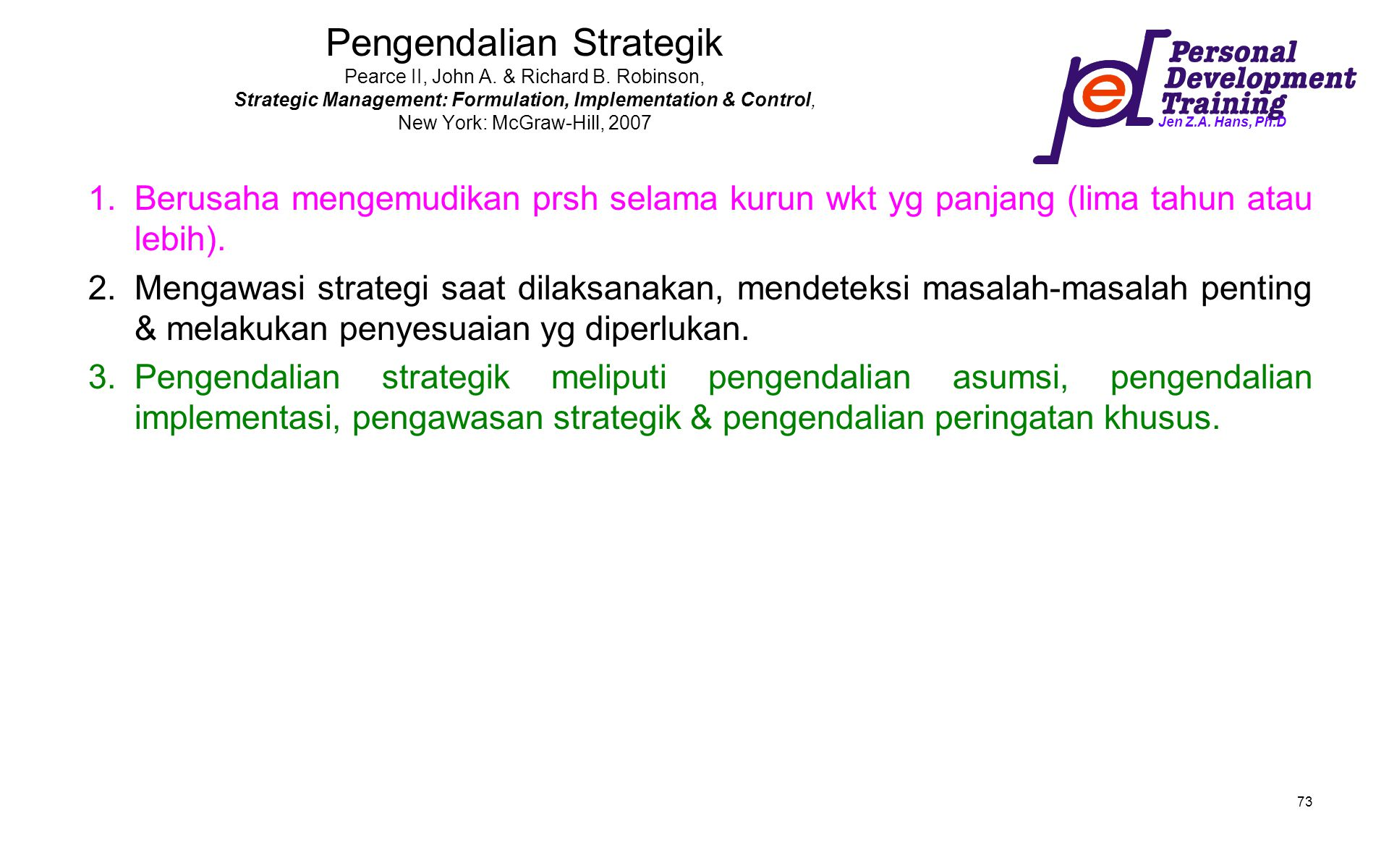 Pengendalian Strategik Pearce II, John A. & Richard B