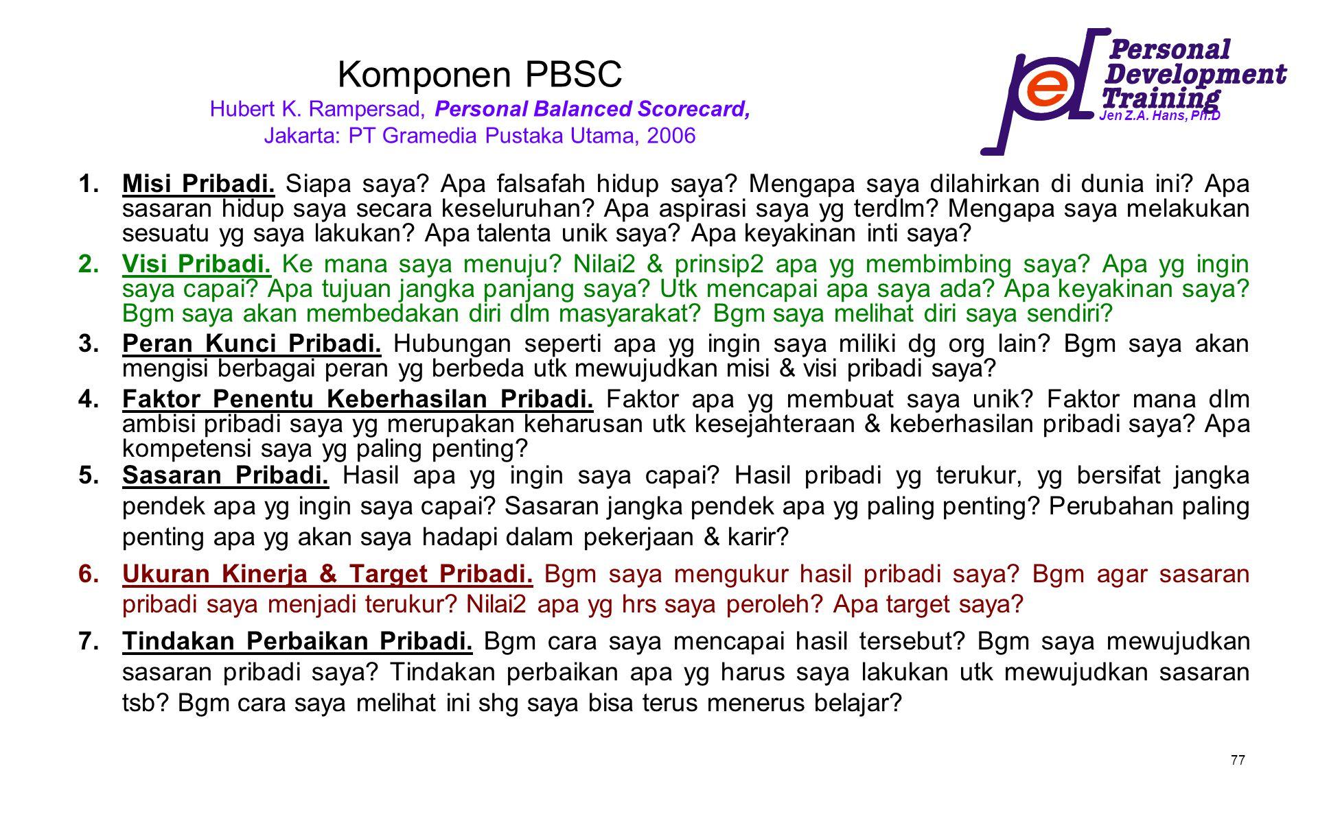 Komponen PBSC Hubert K. Rampersad, Personal Balanced Scorecard, Jakarta: PT Gramedia Pustaka Utama, 2006