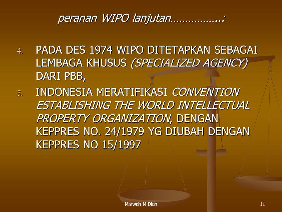 peranan WIPO lanjutan……………..: