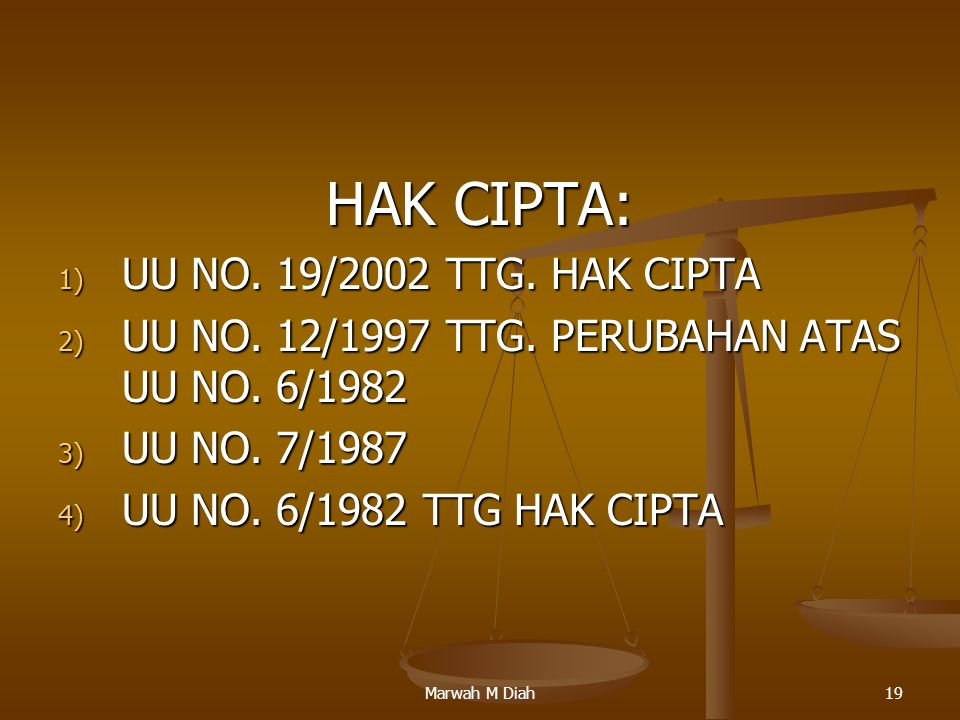 HAK CIPTA: UU NO. 19/2002 TTG. HAK CIPTA