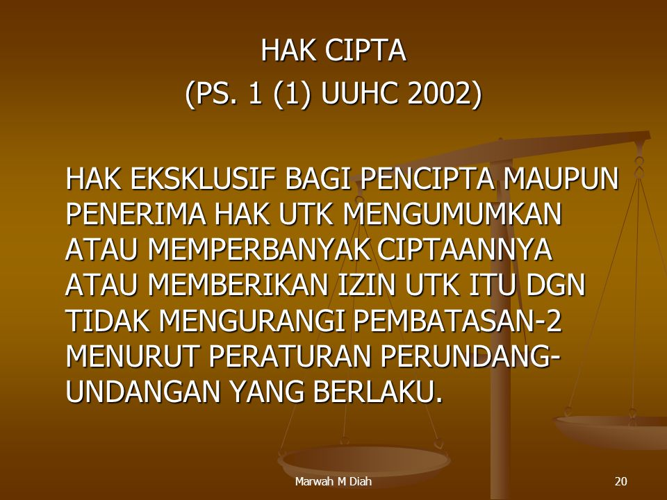 HAK CIPTA (PS. 1 (1) UUHC 2002)