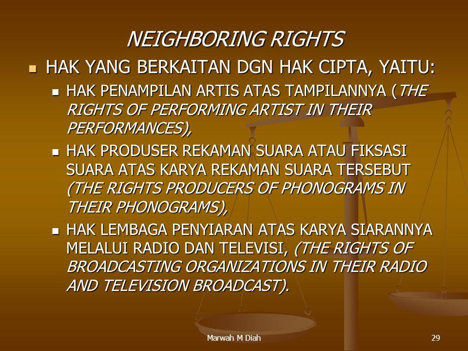 NEIGHBORING RIGHTS HAK YANG BERKAITAN DGN HAK CIPTA, YAITU: