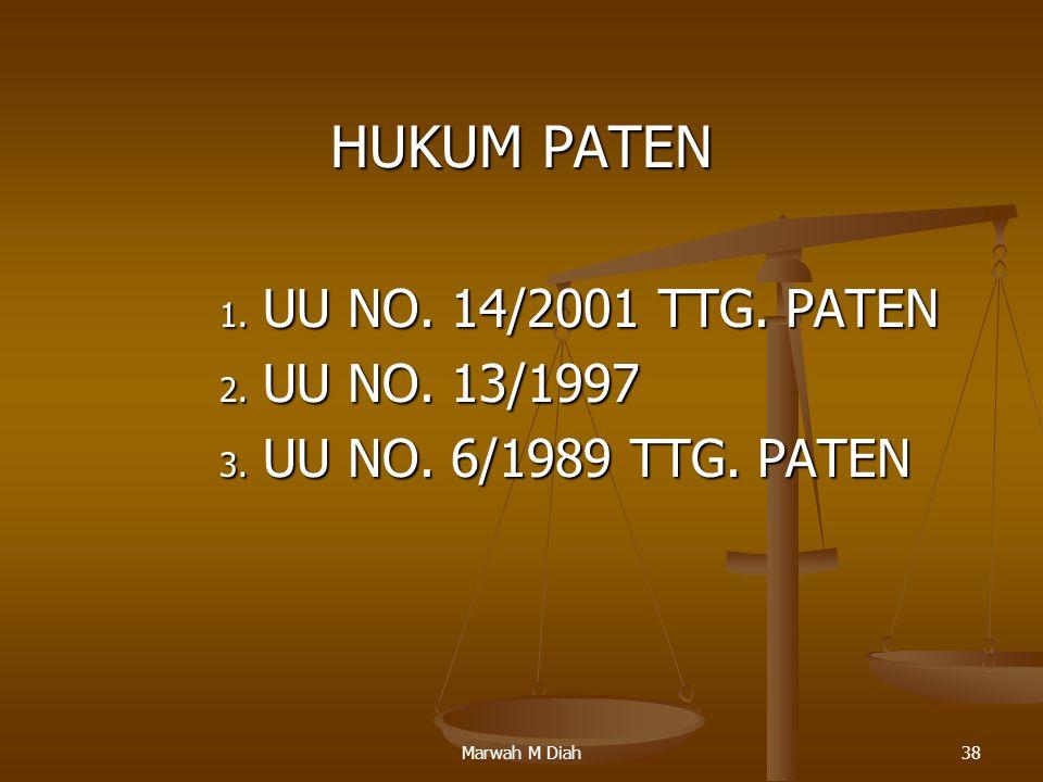 HUKUM PATEN UU NO. 14/2001 TTG. PATEN UU NO. 13/1997