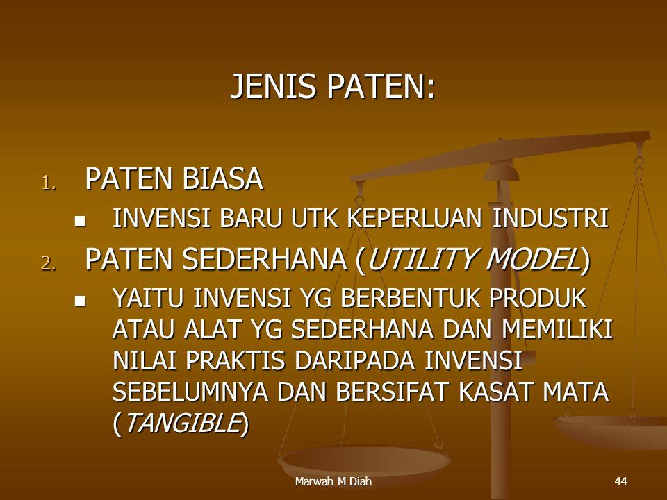 JENIS PATEN: PATEN BIASA PATEN SEDERHANA (UTILITY MODEL)