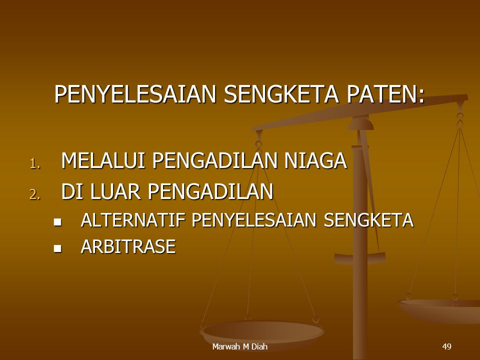 PENYELESAIAN SENGKETA PATEN:
