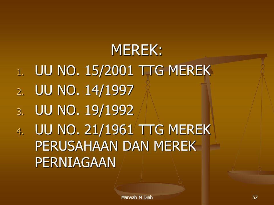MEREK: UU NO. 15/2001 TTG MEREK UU NO. 14/1997 UU NO. 19/1992